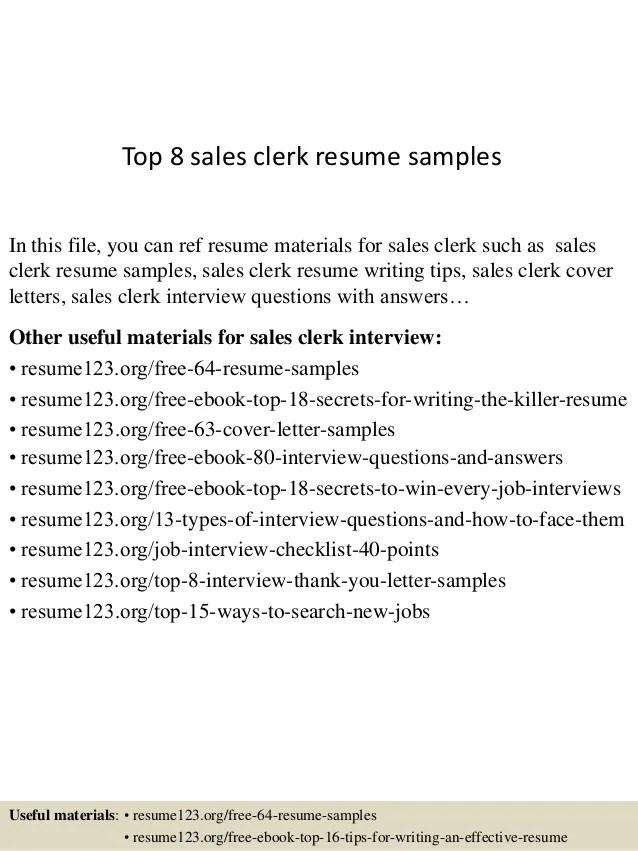 sales clerk resume - Doritmercatodos