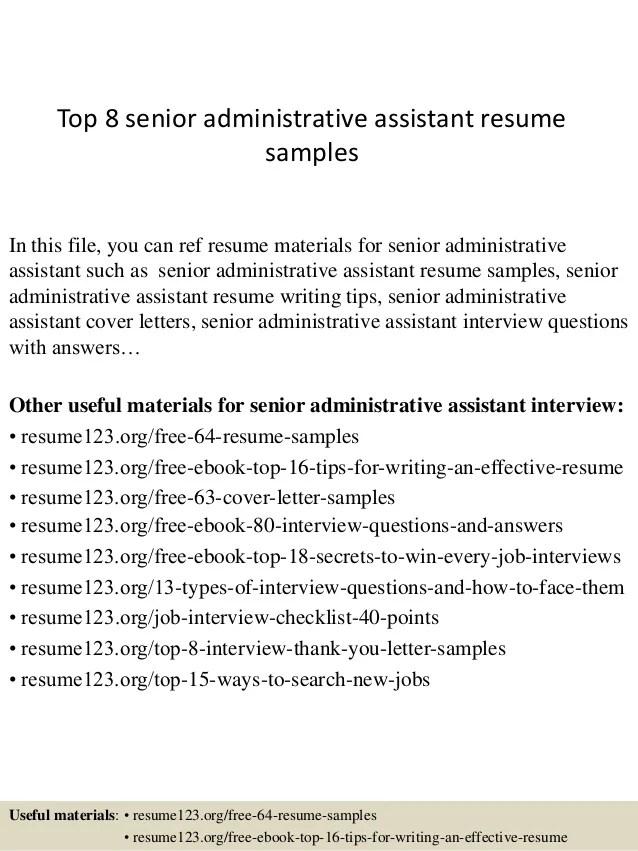 Job Resume Restaurant Restaurant Management Careers Job Fairs Job Interview Top 8 Senior Administrative Assistant Resume Samples