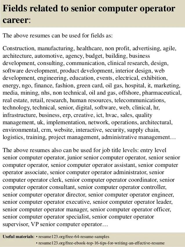 female computer operator resume computer operator resume format