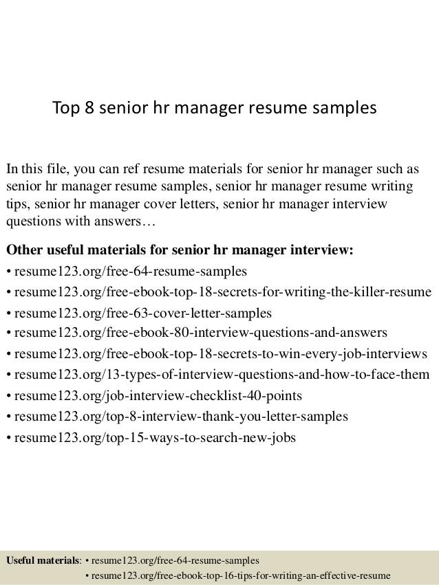 sample resume for hr manager