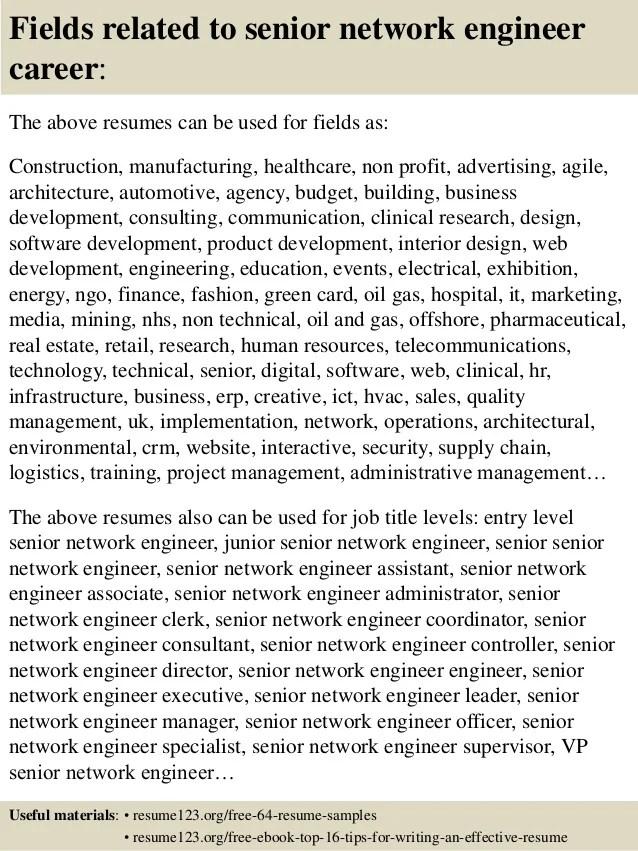 senior network engineer resumes