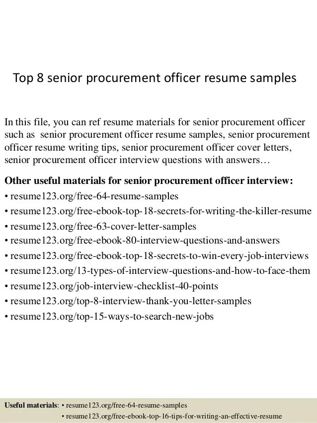 sample resume for procurement officer - Onwebioinnovate
