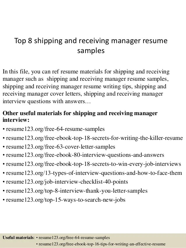 shipping receiving resume examples