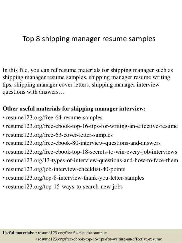 shipping manager resume - Onwebioinnovate - demonstrator sample resumes