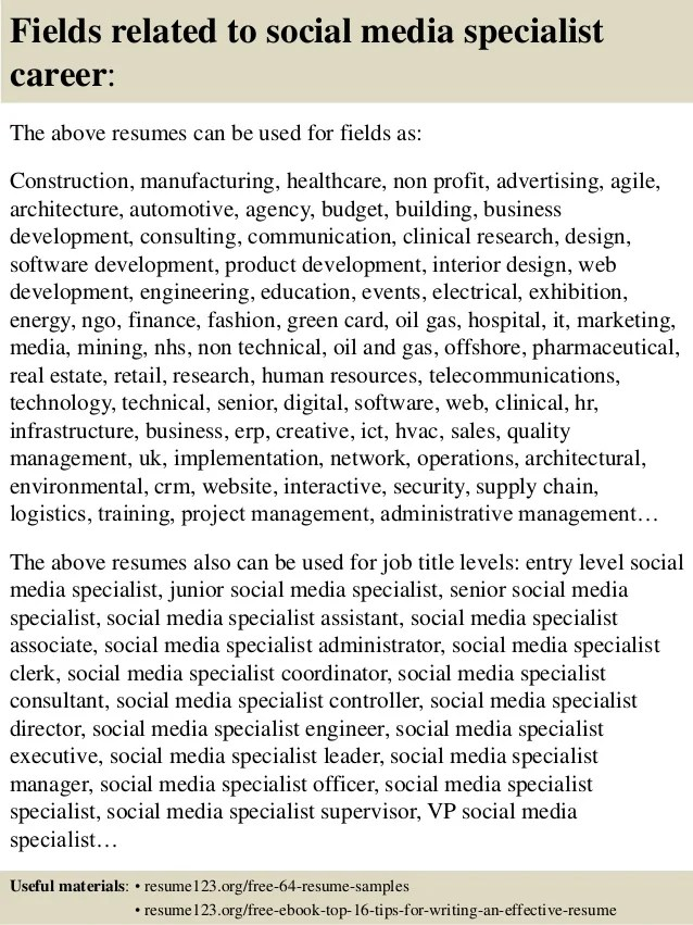 social media specialist resume sample - Onwebioinnovate