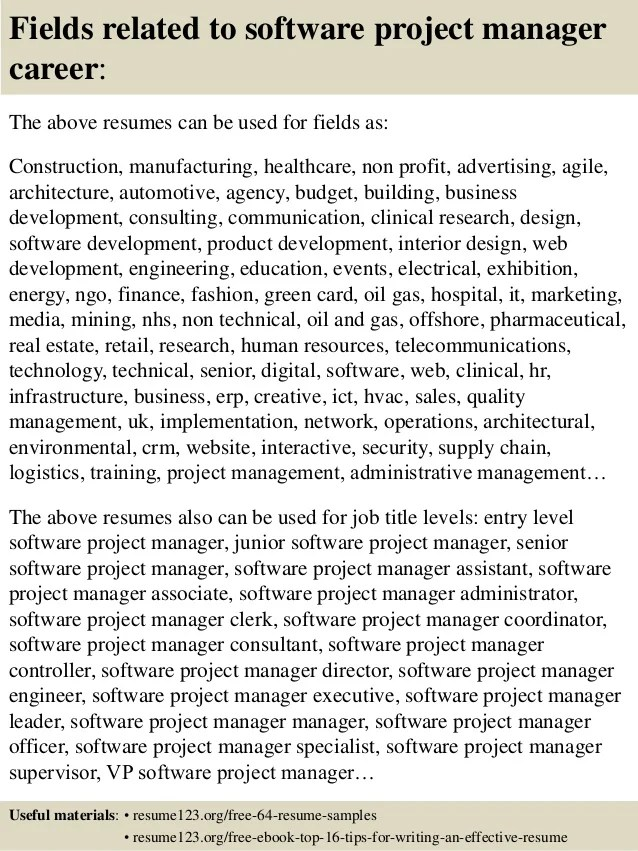 Pmp Project Manager Resume Samples Examples Download Top 8 Software Project Manager Resume Samples