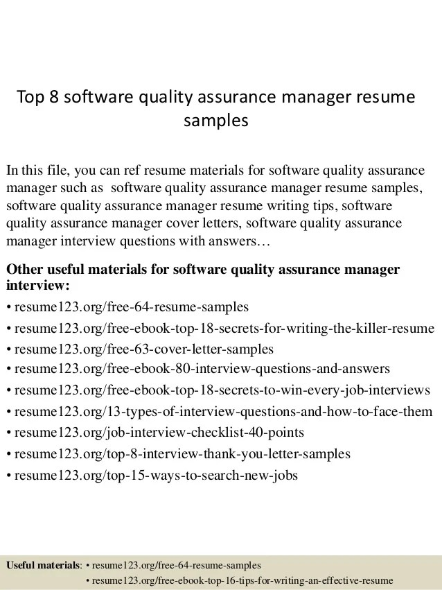 software qa manager resume - Canasbergdorfbib