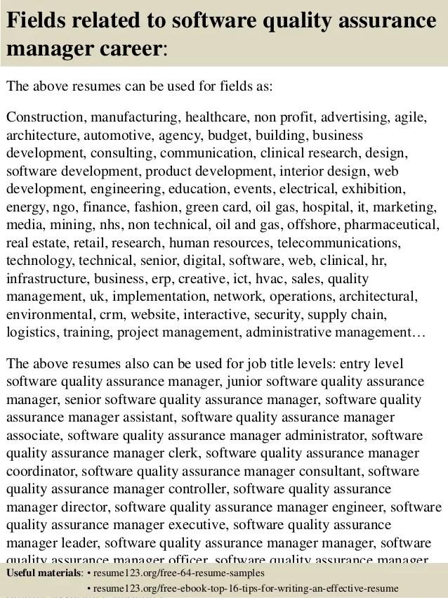 software qa manager resume - Ozilalmanoof