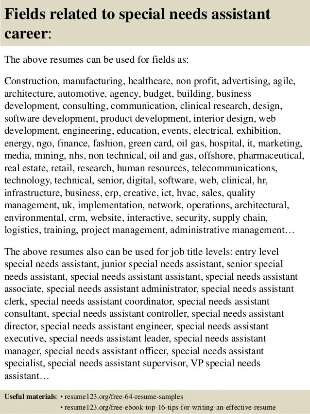 Resume Cover Letter Examples Top 8 Special Needs Assistant Resume Samples