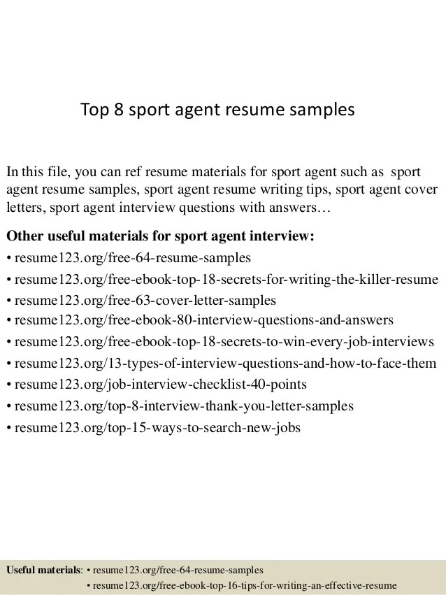 sports agent resume - Funfpandroid