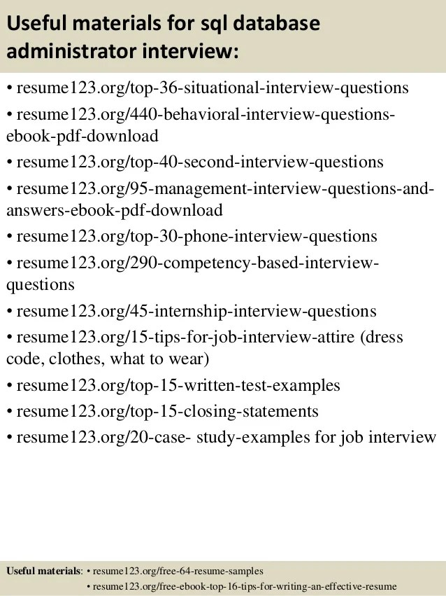 database administrator interview questions - Akbagreenw - db administrator sample resume
