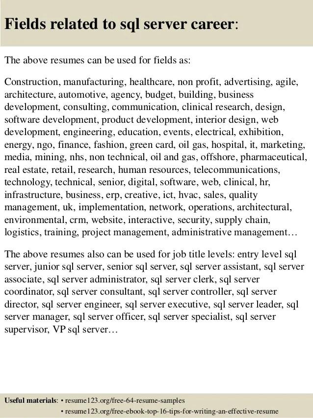 sql resumes - Acurlunamedia - sql server resume