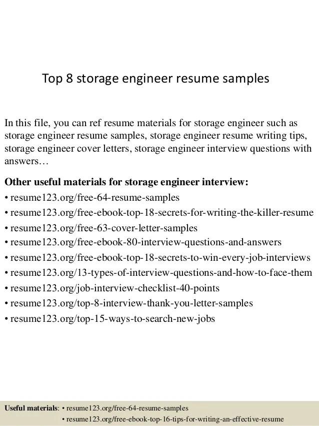 storage engineer resume - Goalgoodwinmetals