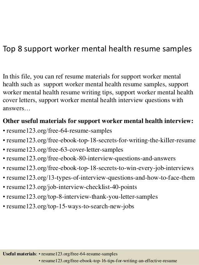 example resumes mental health