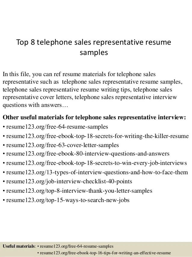 telephone sales representative resume samples - Onwebioinnovate - customer sales representative resume