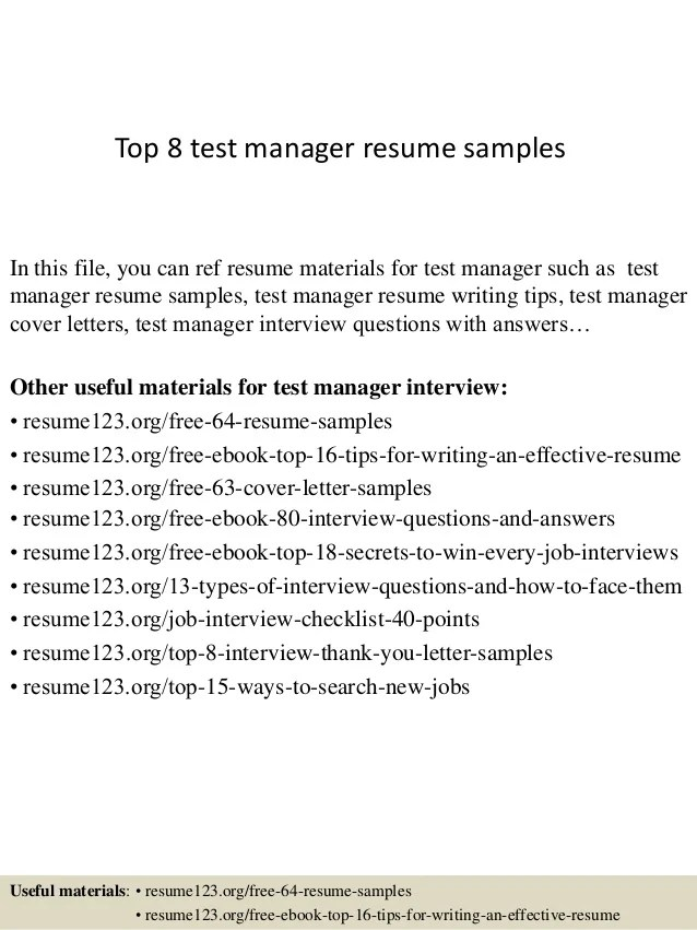 test manager resume - Alannoscrapleftbehind