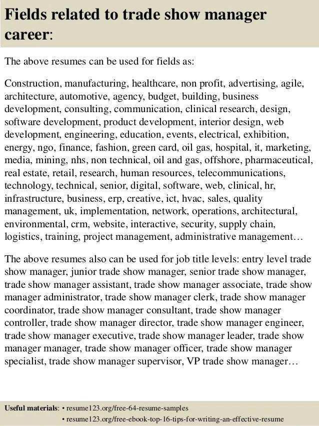 trade show resumes - Ozilalmanoof - trade specialist sample resume