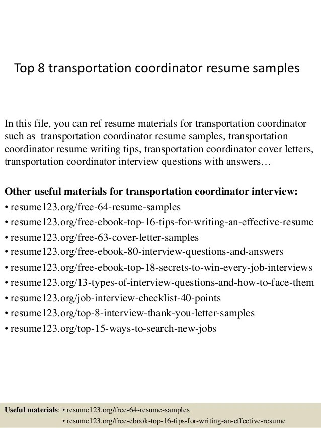 Project Manager Resume Example Samples Top 8 Transportation Coordinator Resume Samples