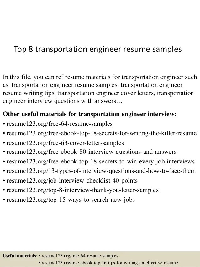 top 8 transportation engineer resume samples