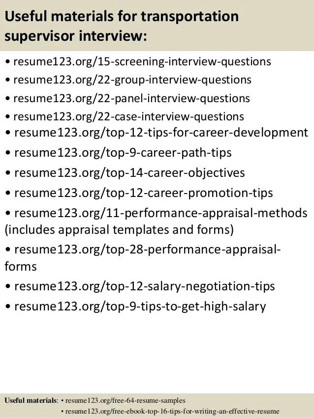 transportation supervisor resume samples - Mavij-plus