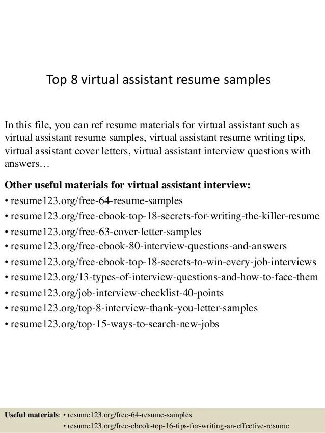 virtual assistant resume samples - Romeolandinez