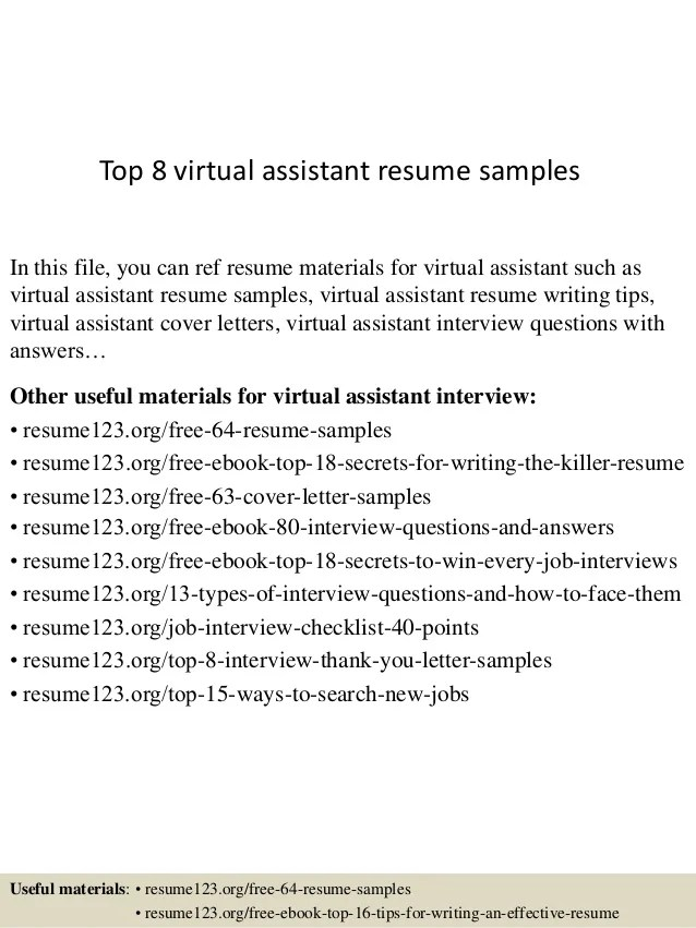 sample resume for virtual assistant