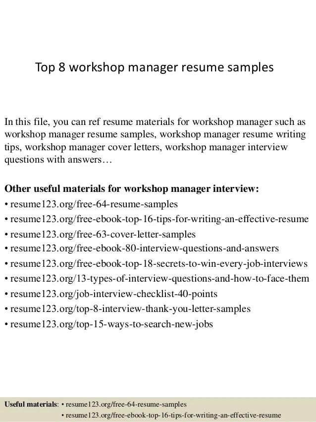 sample resume for workshop manager