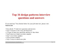 Top design patterns interview questions and answers job ...