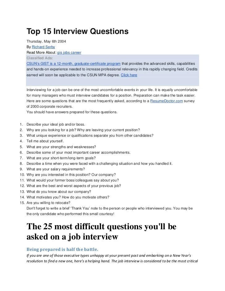 top 15 interview questions - Ozilalmanoof