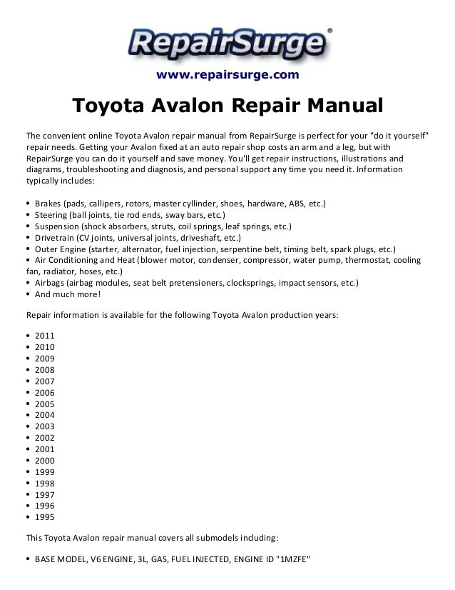 2001 Toyota Avalon Xls Engine Diagram standard electrical wiring