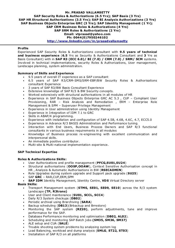 sap hr resumes - Sap Administration Sample Resume