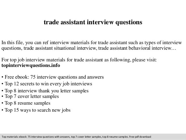 trade assistant resume - Eczasolinf