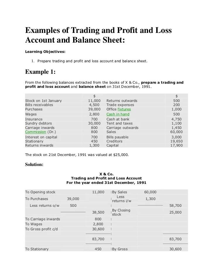 profit and loss and balance sheet example - Seatledavidjoel