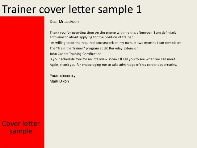 Cover Letter Guide For Job Seekers Trainer Cover Letter