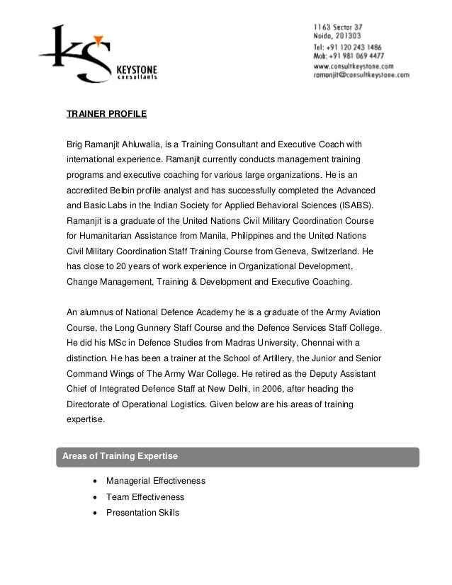 corporate trainer profile sample - Ozilalmanoof - soft skills trainer sample resume