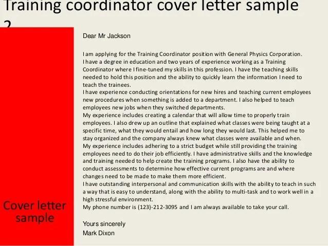 Program Officer Cover Letter Sample Esample Resume Training Coordinator Cover Letter