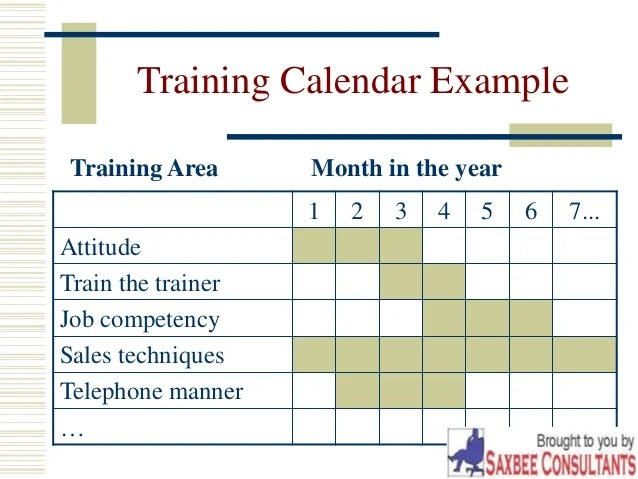 training calendar format for employees - Leonescapers