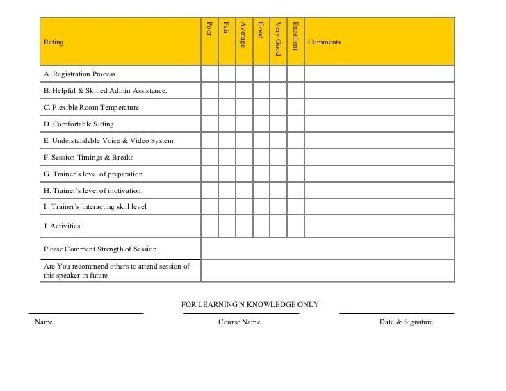 training course evaluation form - Romeolandinez - evaluation forms for trainers