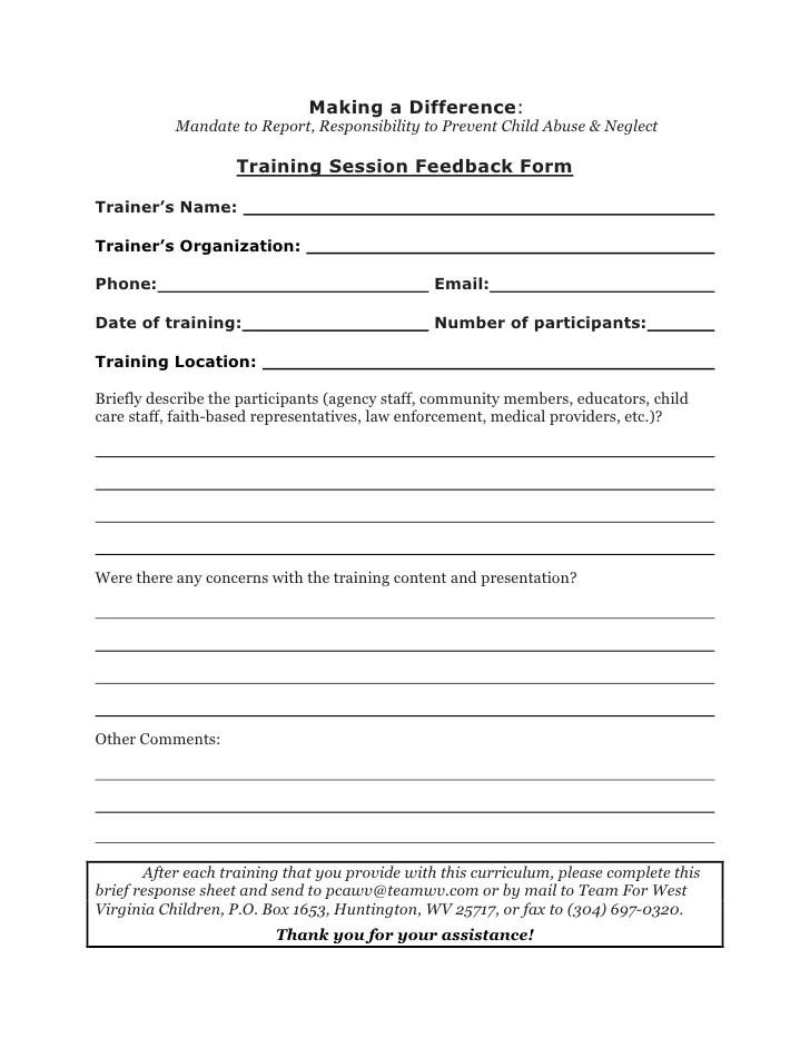 training evaluation forms - Alannoscrapleftbehind