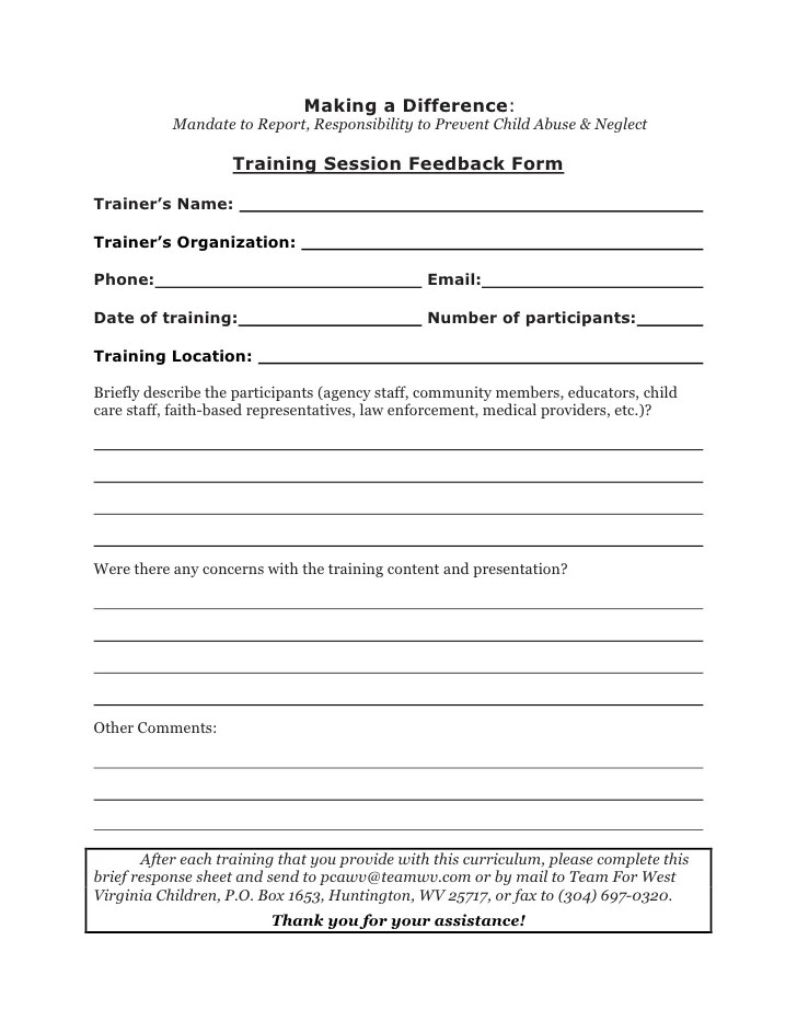 Training Feedback Template Excel – Examples of Feedback Forms