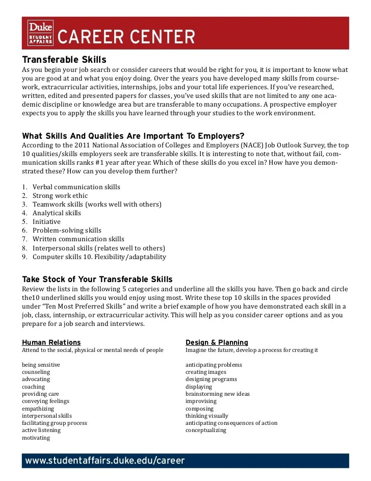 Sample Resume Transferable Skills Resume Pdf Download