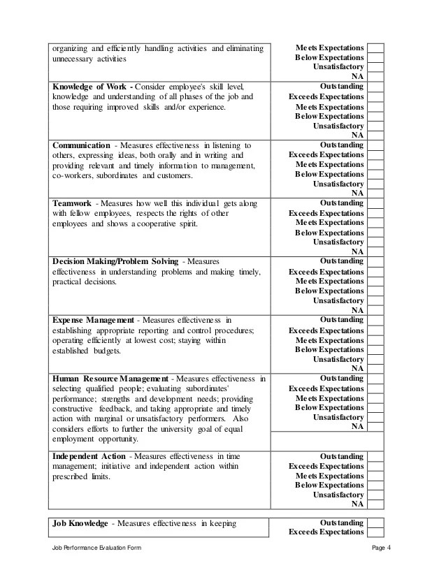 job performance review form - Intoanysearch - performance evaluation forms