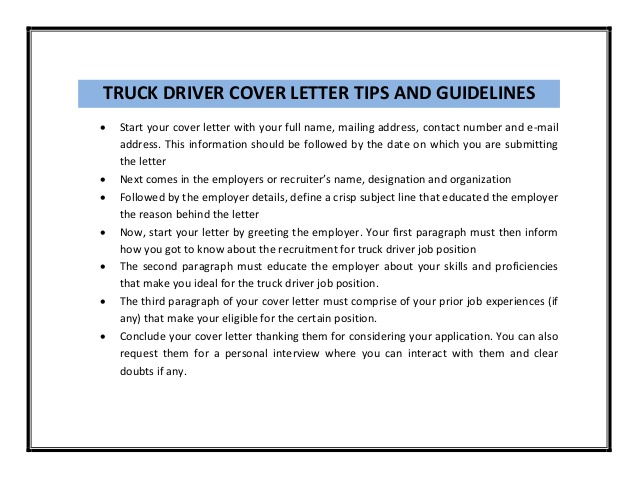 truck driver resume objective truck driver sample cover letter truck