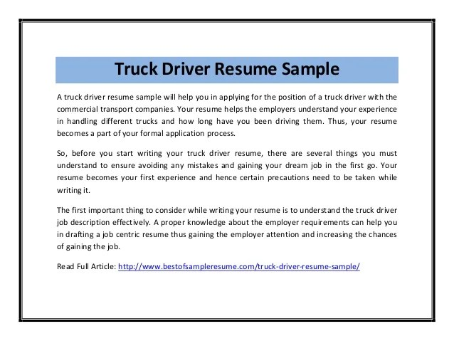 Example of hgv driver cv – Truck Driver Resume Examples