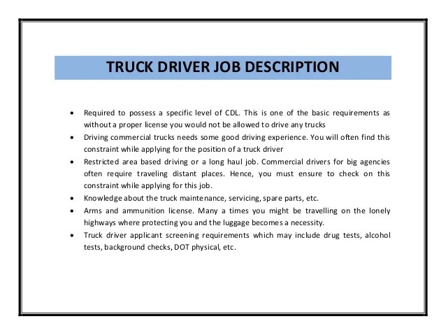 duties of a delivery driver