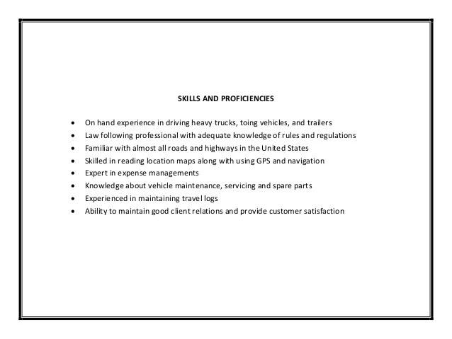 skills for truck driver resume - Pinarkubkireklamowe