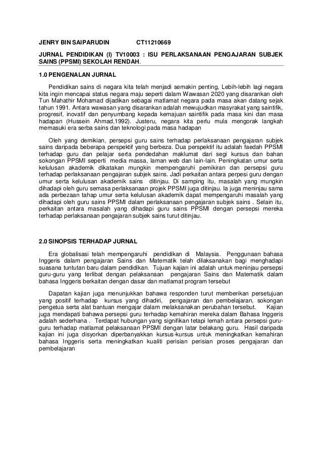 Kumpulan Jurnal Matematika E Jurnal Jurnal Pendidikan I Tv10003 Isu Perlaksanaan Pengajaran Subjek Sa