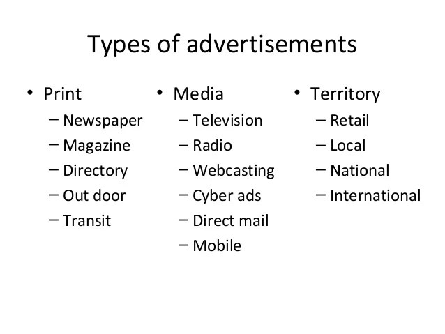 Types Of Advertisement