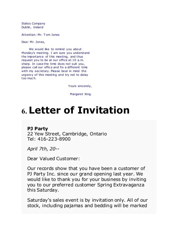 Invitation Letter For A Business Visit – Business Invitation Letters