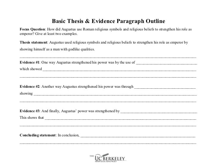 Ucbhssp Basic Thesis Evidence Paragraph Outline